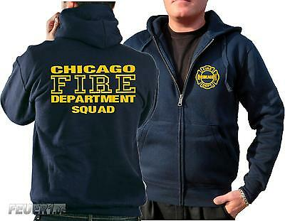 Kapuzensweatjacke navy, Chicago Fire Dept. SQUAD Company gelb