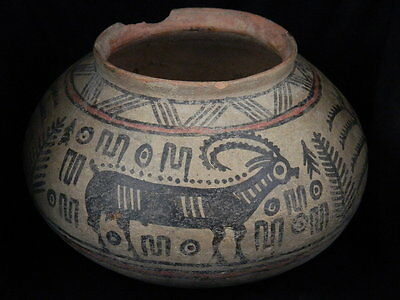 """Ancient Large Size Indus Valley Teracotta Painted Pot With Ibex C.2500 Bc   """"""""t1"""