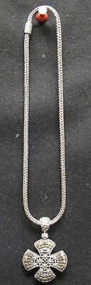 John Hardy 18k Gold and 925 Sterling Silver Cross Pendant Necklace