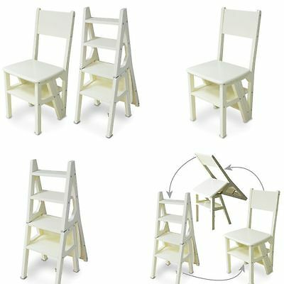 Innovative Creative Folding Fold Up Library Steps Step Ladder Chair Ivory Deal