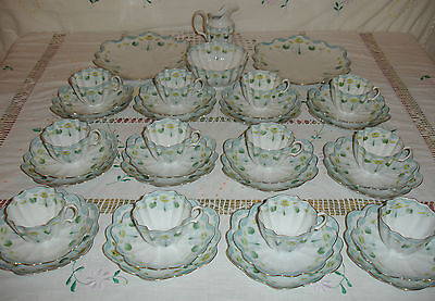 Vintage Unmarked Pre Wileman & Co Shelley 40 Piece Tea Set - Lilly Pattern 416