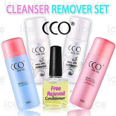 NEW CCO UV LED SOAK OFF NAIL GEL  REMOVER AND CLEANSER 75 or 150ML BOTTLE UK