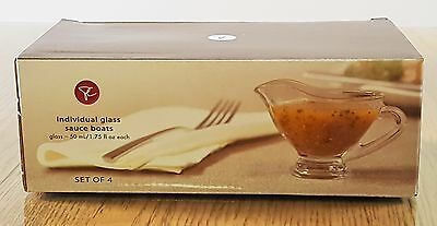 Clear Glass Pc Individual Sauce Boats - Set Of 4
