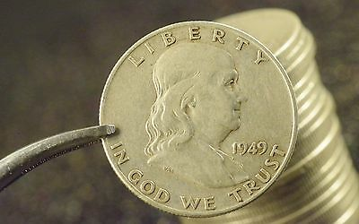 $10 Face Circulated Mixed Date 90% Ag Silver Franklin Half Dollar Roll (20)