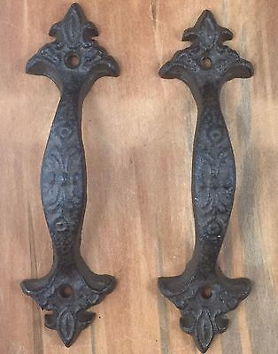 Cast Iron Gate Shed Barn Door Pull  Handle Decorative Set of 2 Shed Barn Pull