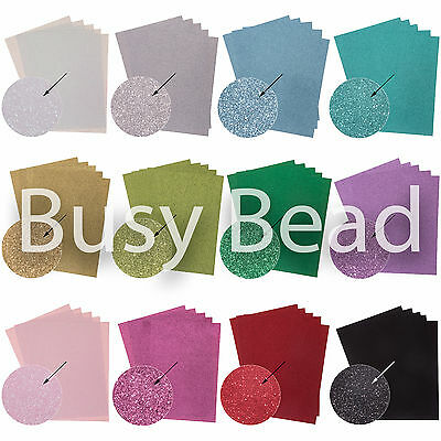 10 Sheets of A4 Glitter Card 250gsm Great Quality 12 Bright Sparkly Colours