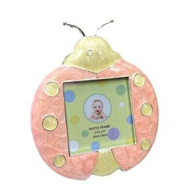 "Forum Novelties Girl Beetle Lady Bug Enamel Baby Frame Peach & Yellow 2.5""x2.5"""
