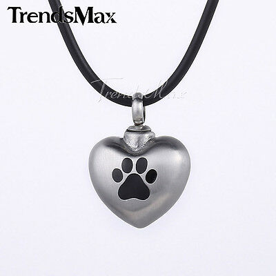 Pet Dog/Cat Paw Ashes Necklace - Funeral Cremation Jewellery - Ash Urn Pendant