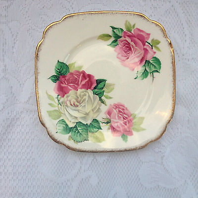 Roslyn 'Melody Rose' Bone China Square Plate white & pink Roses with gold 956