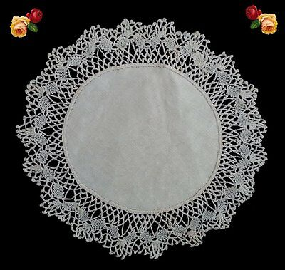 Vintage Round Handmade Crochet Turtle Lace Doily Scallop White Cotton