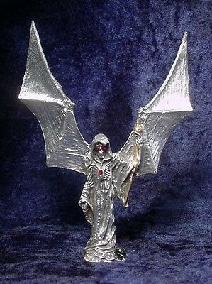 Pewter GRIM REAPER Wings UP - SATIN Finish - RED Eyes & Gold Highlights
