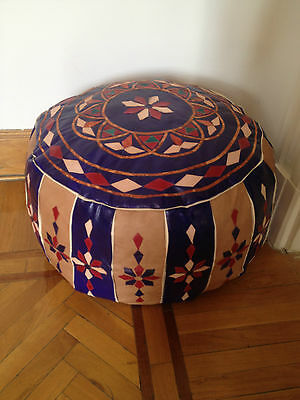 Egyptian Bedouin footstool Pouf Moroccan pouffe Handmade quilted camel leather