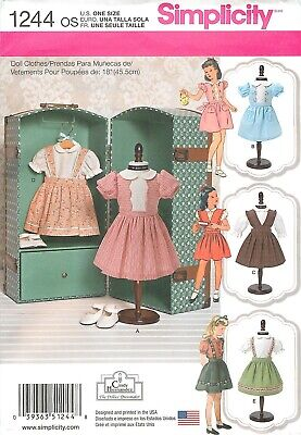Simplicity 1244 18 inch 45.5cm Girl Doll Clothes Pattern 1940's 1950's American