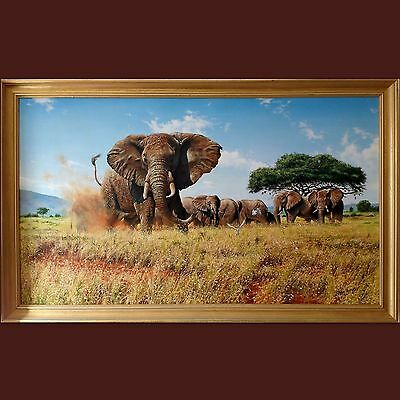Steve Burgess Original Modern Contemporary Signed Oil Painting Canvas Elephants