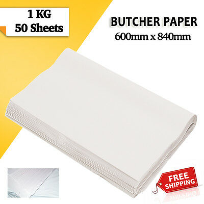 Butchers White Packing Paper 1kg 600 x 840mm 50 Sheets Agrade Free Shipping!