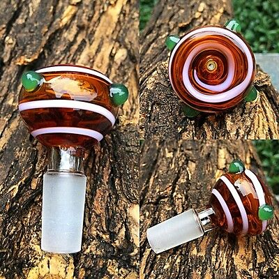 14mm / 18mm Round Wig Wag Style Glass Slide Bowl - Fast Free Shipping