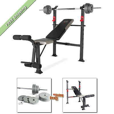 CAP Strength Deluxe Weight Bench with 100 lb Weights Workout Exercise Benches