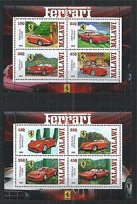 Malawi 2013 Ferrari Cars 2X Mini Sheet ** Mnh