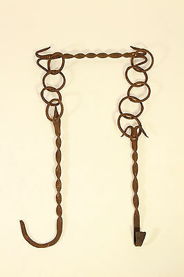 Antique Hand Forged Twisted Wrought Iron Fireplace Trammel Chain w/ Kettle Hook