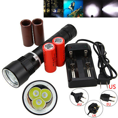 Diving 10000LM 3x XM-L T6 LED Aluminum Flashlight Underwater 26650/18650 Charger