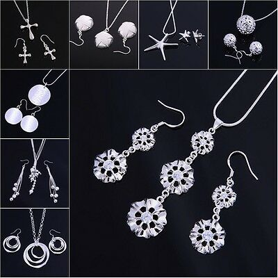 Xmas Gifts Wholesale Silver Jewelry Lady 925Silver Sets Silver Earrings/Necklace