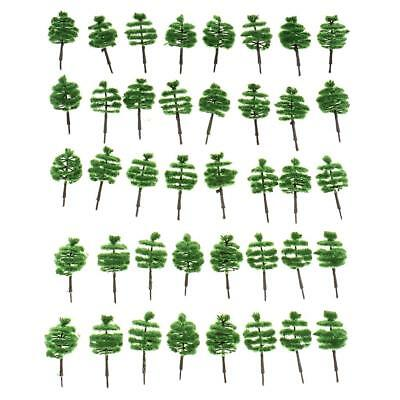 40pcs Z Scale Turreted Model Trees Train Railway Architecture Scenery 1:250