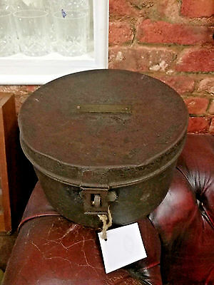 Vintage Tin Metal Hat Box with Name Plate Rustic Brass Strong display prop war