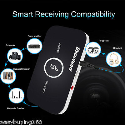 Wireless NFC Bluetooth Audio Transmitter Receiver 3.5mm AUX Music Adapter w/ Mic