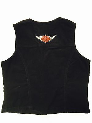 Harley Davidson Embroidered Corduroy Vest Womens Small 100% Cotton Black Patch