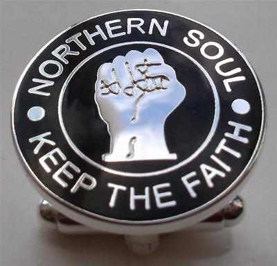 Cufflinks - Northern Soul Badge Keep The Faith - Black - Silver Plate