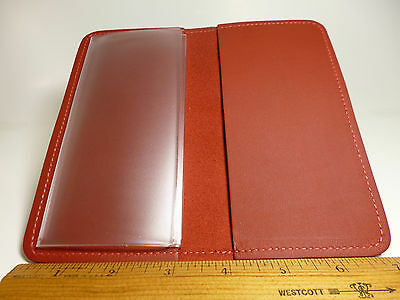 North Star Red Genuine Leather Standard Checkbook Cover-1st Quality-USA Made#132