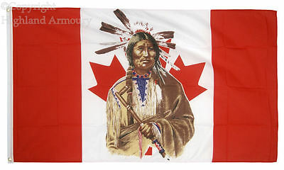 5' x 3' FLAG Native American Indian Apache Canada Canadian Maple Flags ft New