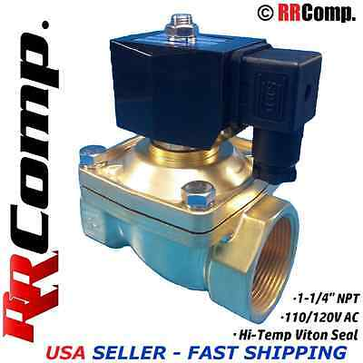 "1-1/4"" NPT 110/120 AC Brass Electric Solenoid Valve, Seal VITON: Air,Water,Oil"