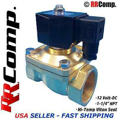 "1-1/4"" NPT 12-Volt DC Brass Electric Solenoid Valve, Seal VITON: Air,Water,Oil"