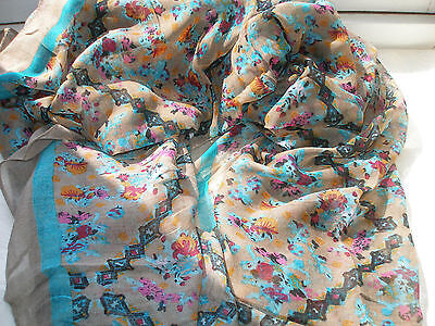 E79 Dark Beige Taupe Jade Green Floral Abstract Lightweight Ladie Scarf Pashmina