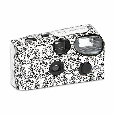 Black and White Damask Disposable Camera Favour Party Accessory 10 Pack