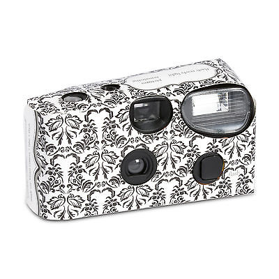 Disposable Cameras with Flash Black and White Damask Design Pack of 10