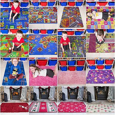 Kids Rugs Childrens Fun Christmas Gifts Boys Girls Bedroom Mats Baby Playmats UK