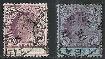 LAGOS: SCOTT 52 & 53a USED - 1904 KING EDWARD VII ISSUES  WATERMARK 3