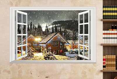 3D Window Tree Snow Village View Wall Stickers Mural Art Removable Vinyl Decals