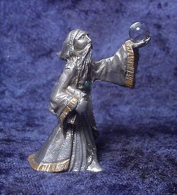 Pewter WIZARD with Book of Magic & Crystal Ball - Satin Matte Finish