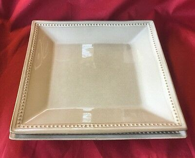 "Amazing Pair of Pier 1 Spice Route Sesame 10.5"" Square Dinner Plates FREE SHIP!"