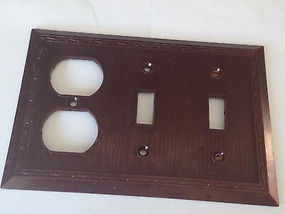 New Vintage Leviton 3 gang switch plate wall cover diamond & dots  Bakelite