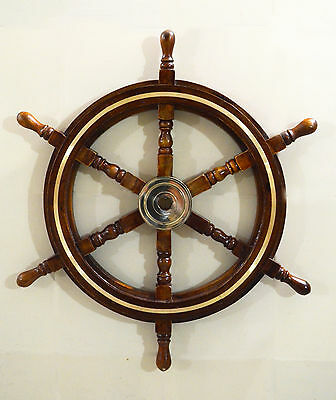 "24"" Antique Sheesham Wooden Maritime Decor Captains Shipwheel Brass Ring"