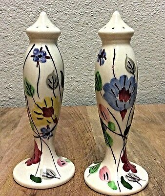 Blue Ridge Southern Potteries Hand Painted Floral Ch Salt Pepper Shaker Set-Nice