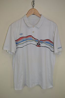 fe08f2c06147 vtg 80s ADIDAS IVAN LENDL  THE FACE  OLDSCHOOL RARE RETRO CASUALS POLO  SHIRT L