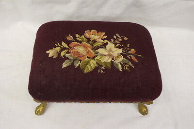 Vintage Victorian Needlepoint FLORAL Rectangular Footstool w/Cast Lion Head Legs