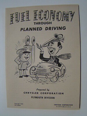 Fuel Economy Through Planned Driving Booklet Chyrsler Corporation 1949