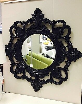 Designer black baroque mirror wall feature aud for Better homes and gardens baroque wall mirror black