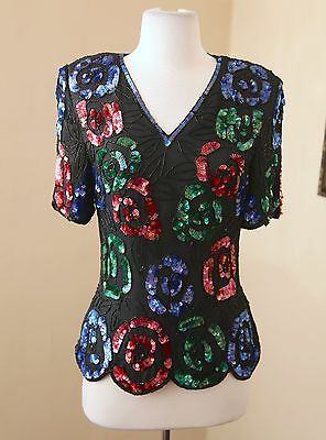 335ba3807e579 Vintage Stenay Silk Beaded Sequin Floral Evening Blouse Formal PP PXS Black  Blue